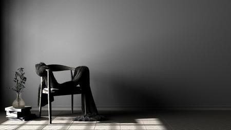 Scandinavian gray background, wooden armchair with fur on herringbone natural parquet flooring, night scene, interior design