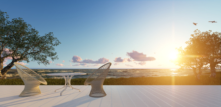 Minimalist modern terrace with relax area, armchairs and table for breakfast, panoramic sea ocean, sunset sunrise