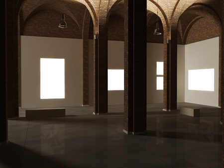 Museum interior design, expo, work of art mock up 스톡 콘텐츠