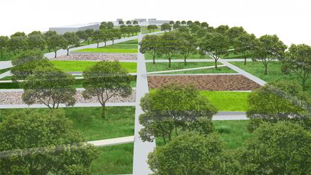 조 경 건축, 공원 정원 개념 스톡 콘텐츠