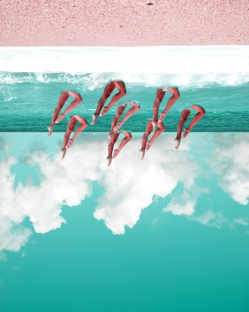 Imaginary landscape, surreal upside down beach, turquoise and pink colors, cloudy sky, water dancer woman legs, synchronized swimming, impossible concept