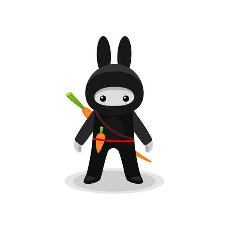 standing cute bunny ninja with carrot isolated on white background