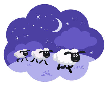 counting sheep in the night background in a dream bubble isolated Illustration