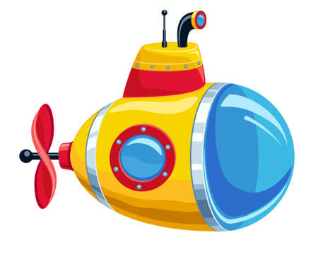 illustration of cartoon yellow and red submarine isolated on white background