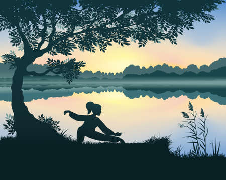 Vector illustration of yang woman performs Snake Creeps Down Form of Tai Chi near the lake 일러스트