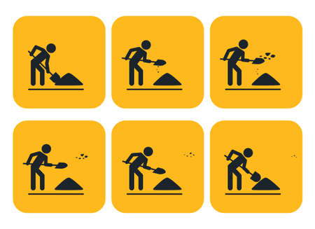 throwing: Digging man. illustration of animation throwing the ground ahead