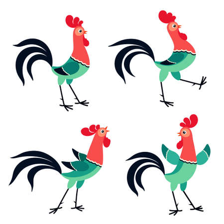 tread: Vector set of cartoon rooster in various poses isolated on white background Illustration