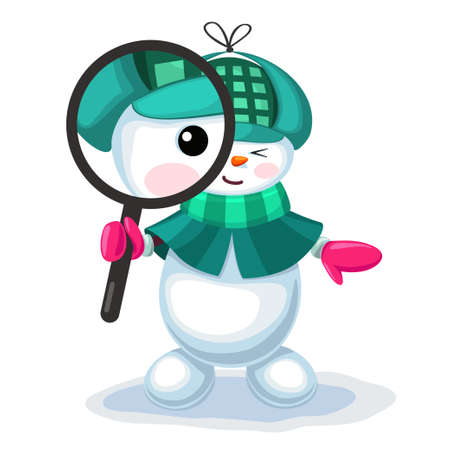 Vector illustration of cute snowman looking through a magnifier isolated on white background Illustration