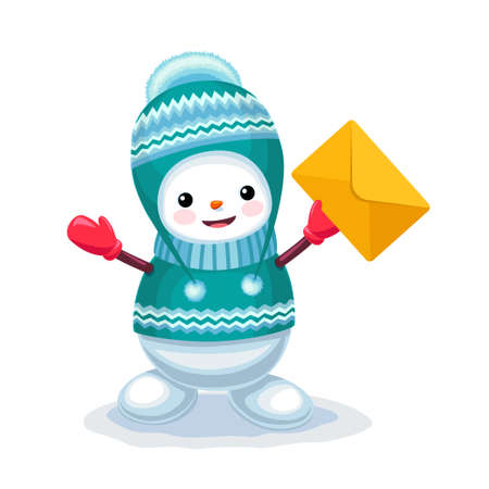 Vector illustration of cute snowman with a letter envelope on his hand isolated on white background Illustration