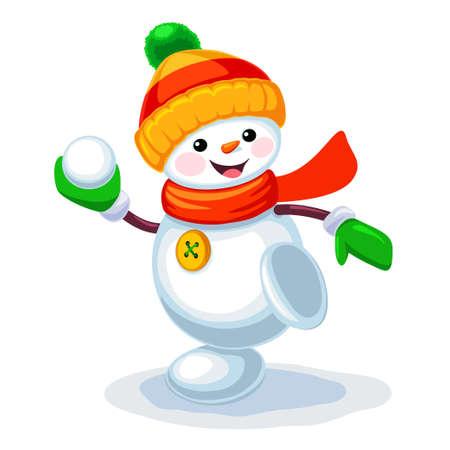 Vectorillustratie van schattige sneeuwpop spelen sneeuwballen geïsoleerd op een witte achtergrond