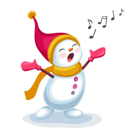illustration of cute snowman singing a song isolated on white background Illustration