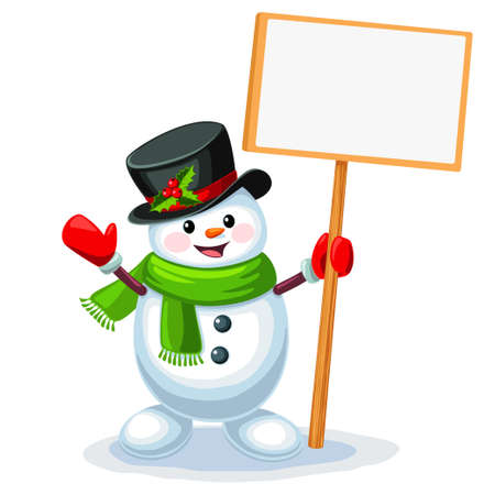 Vector illustration of cute snowman holding a blank sign board with space for message isolated on white background Stock Illustratie