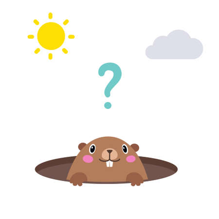 Vector illustration of groundhog looking out of his hole. Flat style