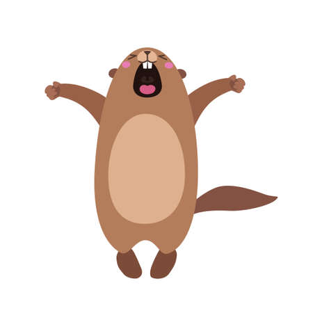Vector illustration of groundhog who yawns and stretches himself. Flat style