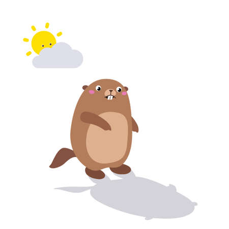 Vector illustration of groundhog looking at his shadow. Flat style Illustration