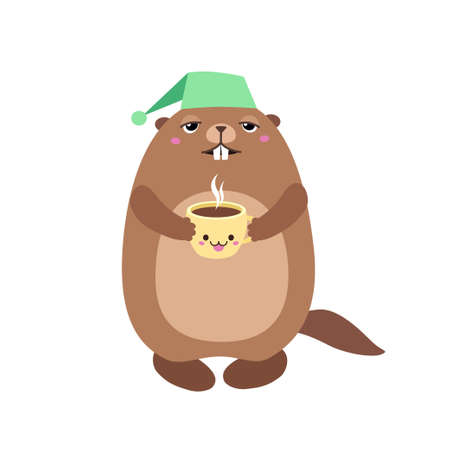 Vector illustration of groundhog holding a cup of coffee. Flat style