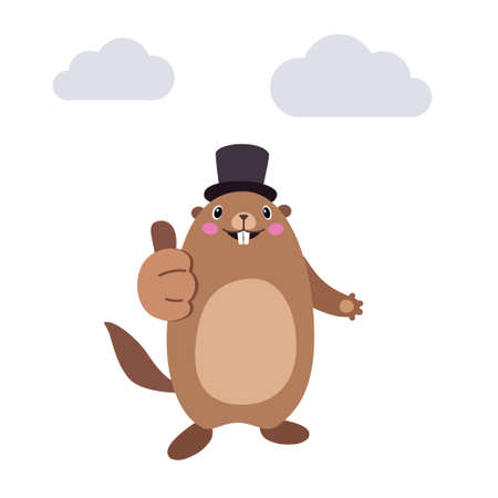 Vector illustration of groundhog showing thumbs up gesture. Flat style