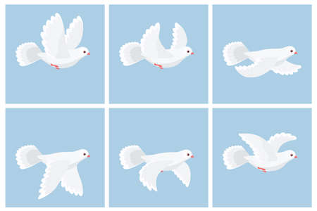 Vector illustration of cartoon flying dove animation sprite