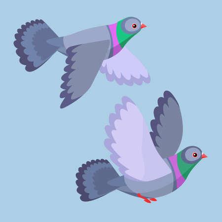 2つの漫画の鳩のベクトルイラスト飛ぶ