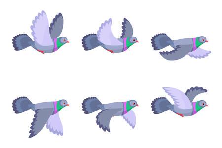 白い背景に分離された漫画の飛ぶ鳩アニメーションスプライトのベクトルイラスト