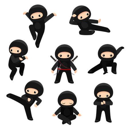 Vektorsatz niedliche Ninjas in verschiedenen Posen lokalisiert auf weißem Hintergrund