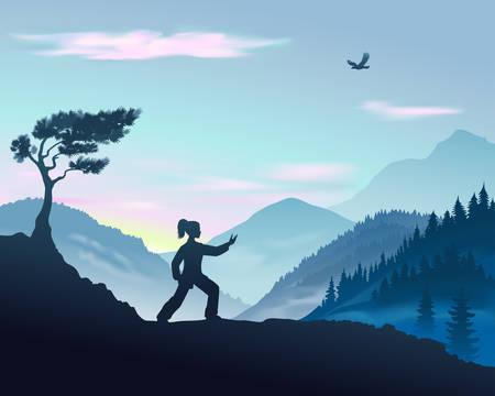 Ilustración de vector de mujer yang realiza Parting The Wild Horse's Mane Forma de Tai Chi en las montañas