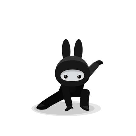 Vector illustration of squatting cute bunny ninja isolated on white background