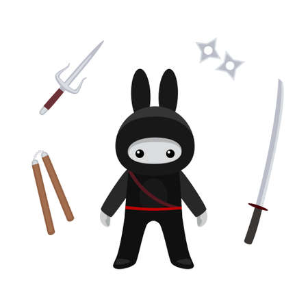Vector illustration of standing cute bunny ninja with weapons isolated on white background