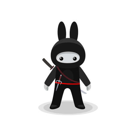 Vector illustration of standing cute bunny ninja with sai and katana isolated on white background
