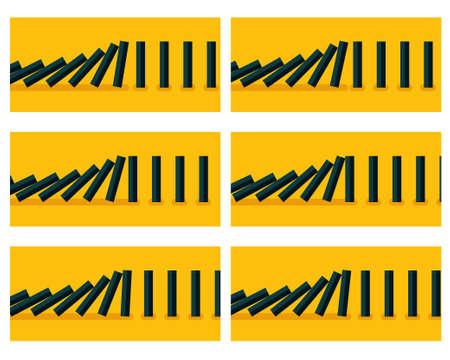 Vector illustration of falling black dominoes animation sprite with blue background Illustration