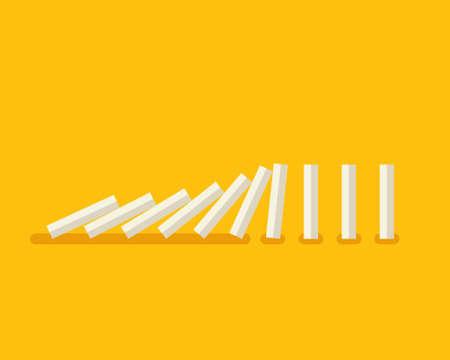 Vector illustration of falling white dominoes on yellow background Stock Illustratie