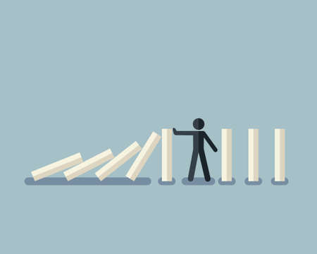 Vector illustration of stick figure stopping the domino effect with falling white dominoes
