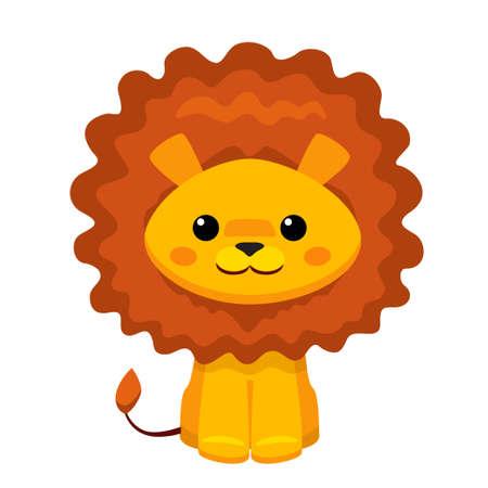 Vector illustration of cute lion isolated on white background Ilustração