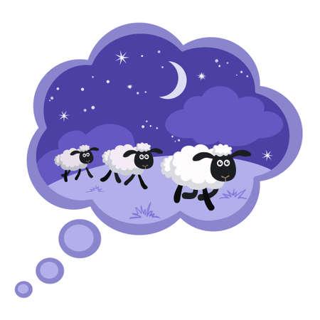 Illustrazione vettoriale di contare le pecore sullo sfondo di notte in una bolla di sogno con cornice
