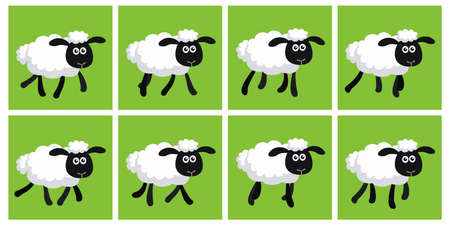 Vector illustration of cartoon trotting sheep sprite sheet. Can be used for GIF animation