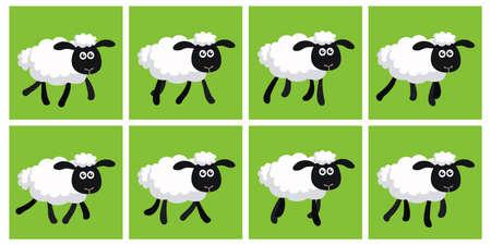 Vectorillustratie van cartoon dravende schapen sprite blad. Kan worden gebruikt voor GIF-animatie Vector Illustratie