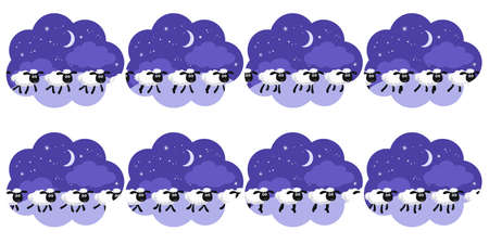 Vector illustration of counting sheep trotting in the night background in a dream bubble sprite sheet. Can be used for GIF animation Illustration