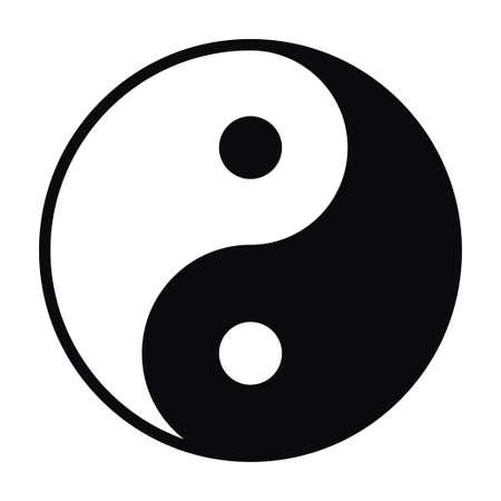 Illustrazione vettoriale di Yin e Yang simbolo isolato su priorità bassa bianca Vettoriali