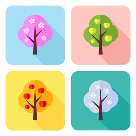 Vector set of flat icons with four seasons apple trees – spring, summer, autumn, winter