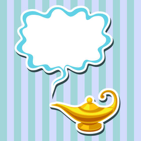 Vector illustration of magic lamp and space for text on striped background