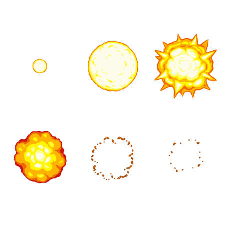 Vector illustration of cartoon explosion sprite sheet isolated on white background. Can be used for GIF animation
