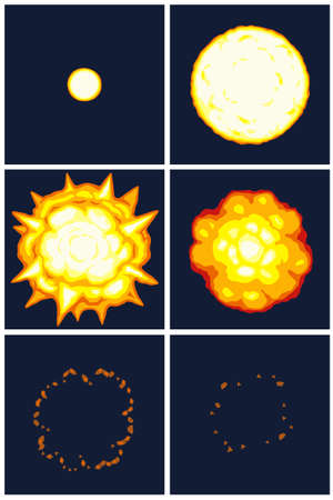 Vector illustration of cartoon explosion animation sprite on dark background. Can be used for GIF animation