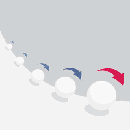 Illustration vectorielle de l'effet boule de neige avec des flèches