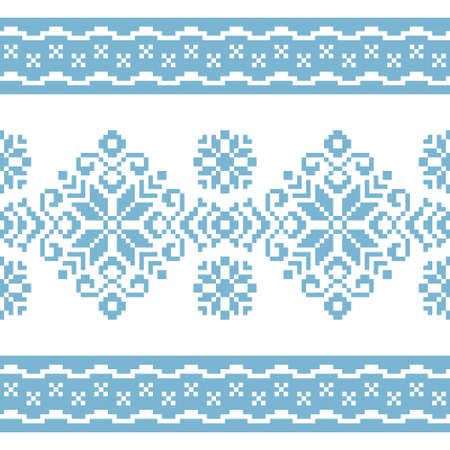 Vector pattern for knitting or embroidery with blue and white abstract ornament