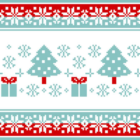 Vector pattern for knitting or embroidery with Christmas trees, gifts and colorful borders