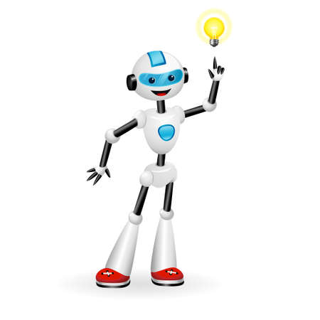 Vector illustration of cute robot pointing at good idea light bulb. Aha moment concept. Isolated on white background