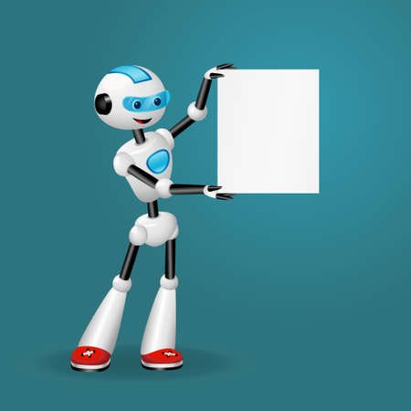 Vector illustration of cute robot holding blank sheet of paper for text on blue background