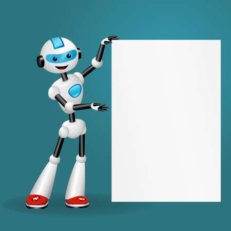 Vector illustration of cute robot holding blank white poster for text on blue background