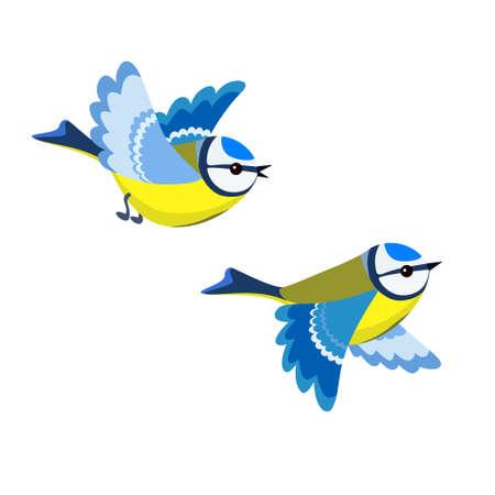 Ilustración vectorial de Flying Blue Tit aislado sobre fondo blanco.