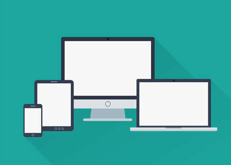 Vector set of different gadgets in flat style with blank screens